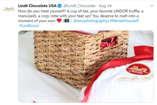 Twitter post by Lindt Chocolate